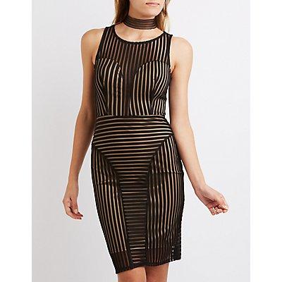 Shadow Stripe Bodycon Dress