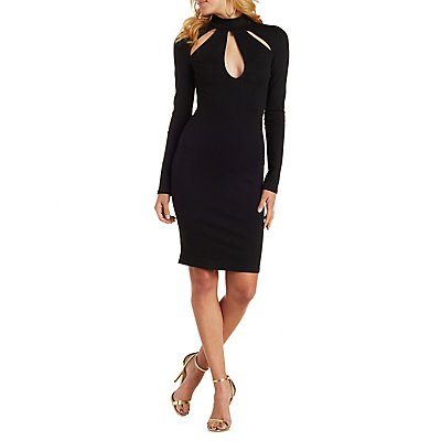 Mock Neck Long Sleeve Bodycon Dress