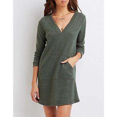Ribbed V-Neck Sweater Dress