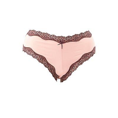 Plus Size Lace-Trim Lace-Up Cheeky Panties