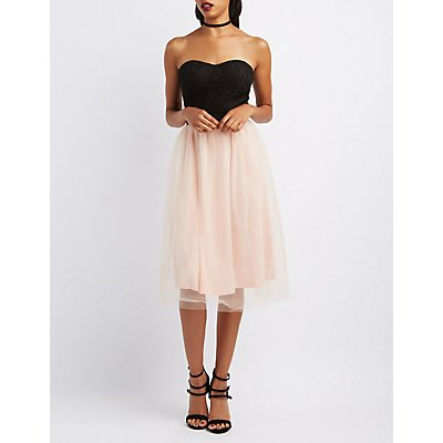 Lace & Tulle Strapless Dress