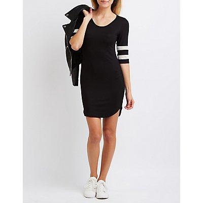 Mesh Varsity Stripe T-Shirt Dress