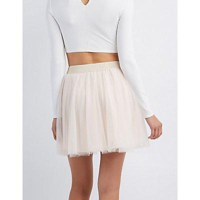 Shimmer Waistband Tulle Skater Skirt