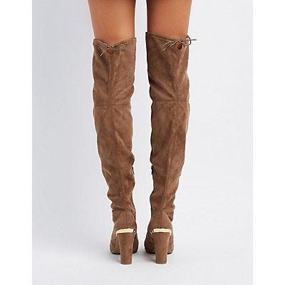 Gold-Tipped Over-The-Knee Boots
