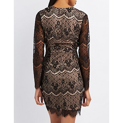 Plunging Lace Bodycon Dress