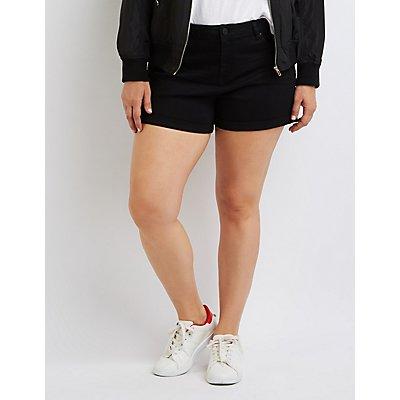 Plus Size Refuge Girlfriend Cuffed Denim Shorts
