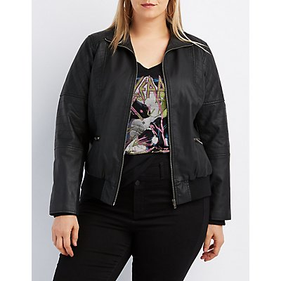 Plus Size Quilted Moto Jacket