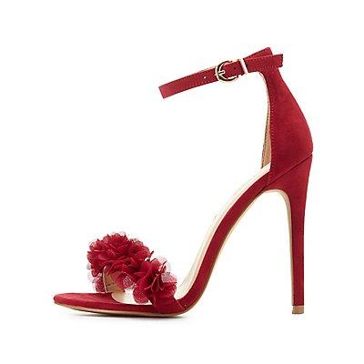Floral Faux Suede Two-Piece Dress Sandals