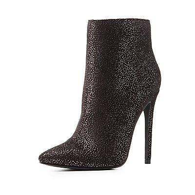 Shimmer Faux Suede Dress Booties