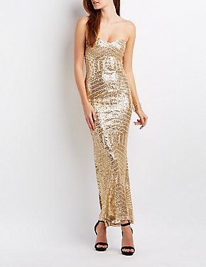 Sequin Strapless Mermaid Maxi Gown