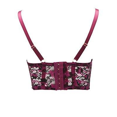 Plus Size Floral Lace Longline Bra