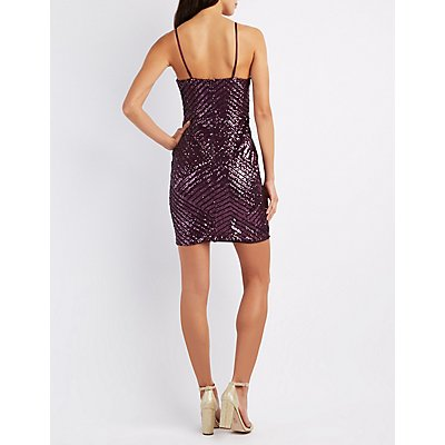 Geometric Sequin Bodycon Dress