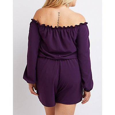 Plus Size Ruffle Off-The-Shoulder Romper