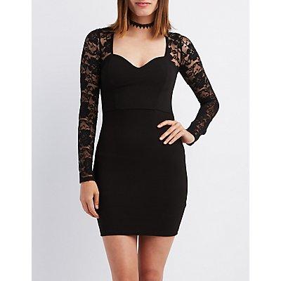 Lace-Trim Lace-Up Back Dress