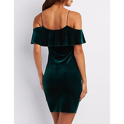 Velvet Cold Shoulder Ruffle Dress