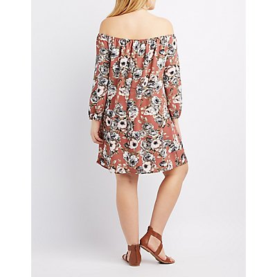 Plus Size Floral Off-The-Shoulder Dress