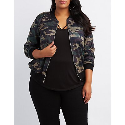 Plus Size Camo Knit Bomber Jacket