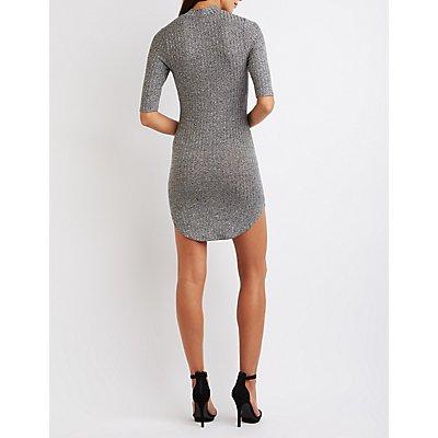 Marled Mock Neck Bodycon Dress