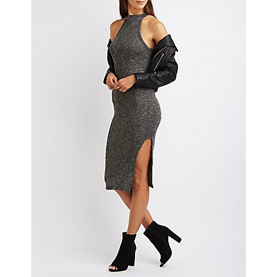 Marled Mock Neck Midi Dress