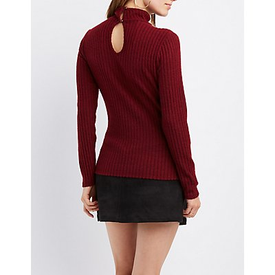 Wrapped Mock Neck Ribbed Top