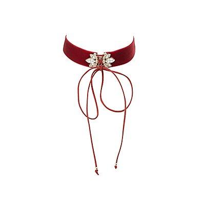 Embellished Lace-Up Choker Necklace