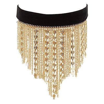 Velvet Fringe Choker Necklace