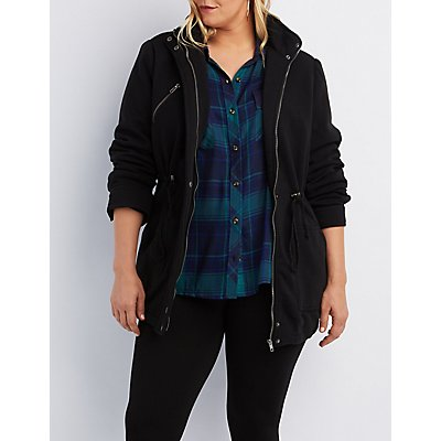 Plus Size Knit Drawstring Anorak Jacket