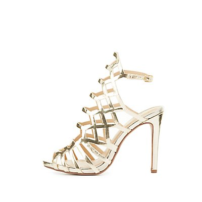 Metallic Laser Cut Dress Sandals