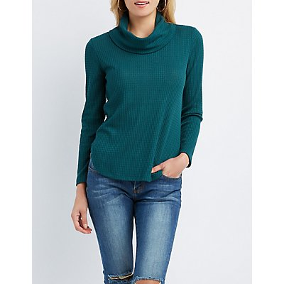 Waffle Knit Cowl Neck Tunic Top