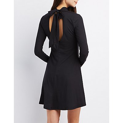 Mock Neck Tie-Back Dress