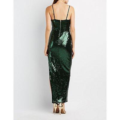 Sequin Asymmetrical Maxi Dress