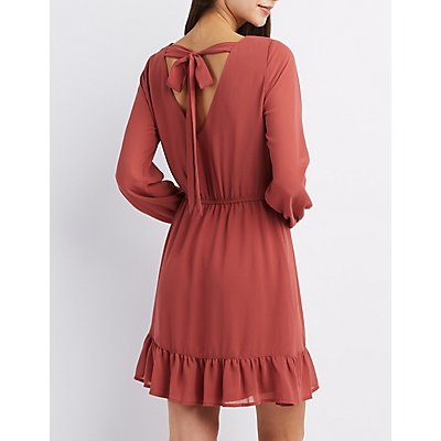 Surplice Ruffle-Hem Skater Dress