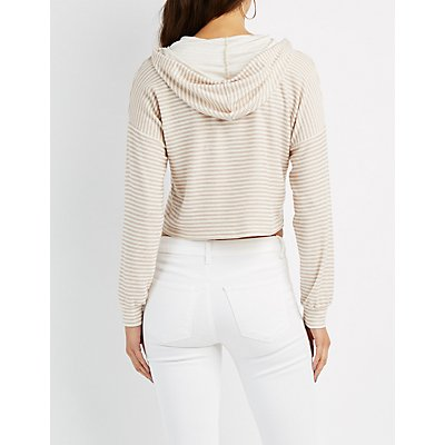Striped French Terry Cropped Hoodie