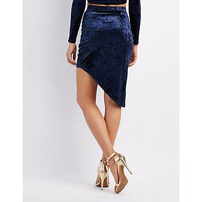 Velvet Ruched Asymmetrical Skirt