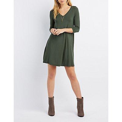 V-Neck Swing Dress