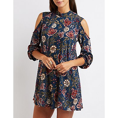 Floral Mock Neck Cold Shoulder Shift Dress
