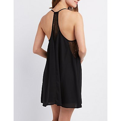 Lace-Trim Racerback Shift Dress