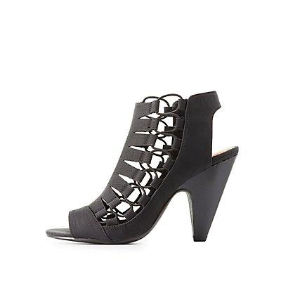 Lace-Up Side Slingback Sandals