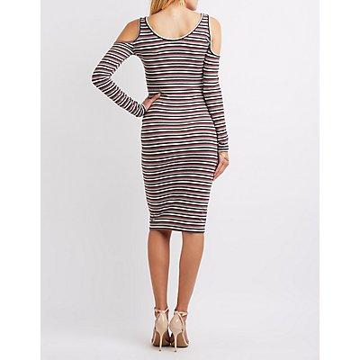 Striped Cold Shoulder Midi Dress