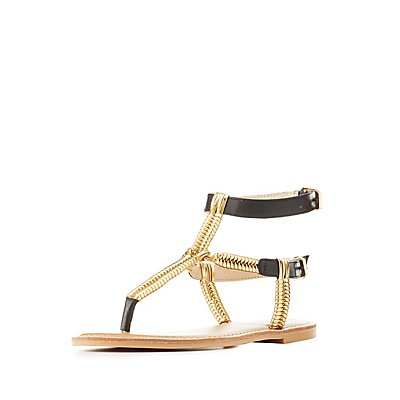 Metallic T-Strap Sandals