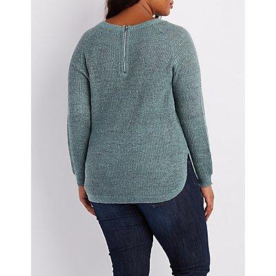 Plus Size Shaker Stitch Zip-Back Sweater