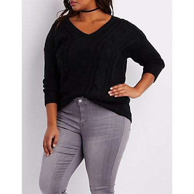 Plus Size Cable Knit V-Neck Sweater