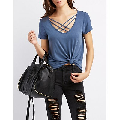 Lattice-Front Boyfriend Tee