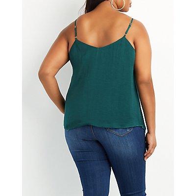 Plus Size Lattice Lace-Up Tank Top