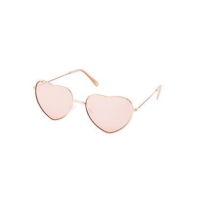 Metal Frame Heart Sunglasses