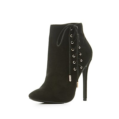 Corset Lace-Up Pointed Toe Booties