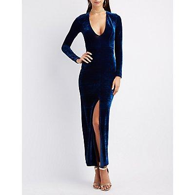Velvet Plunging V-Neck Maxi Dress