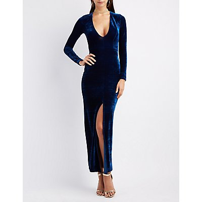 Velvet Plunging V-Neck Maxi Dress