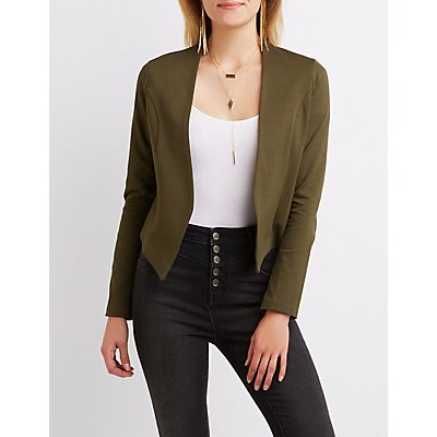 Collarless Asymmetrical Cropped Blazer