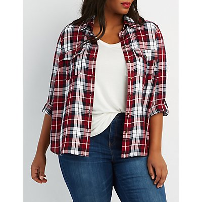 Plus Size Plaid Button-Up Pocket Shirt